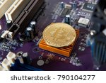 gold bitcoin electronic... | Shutterstock . vector #790104277