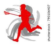 lacrosse sport silhouette... | Shutterstock .eps vector #790106407