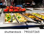 buffet bar and trays with...   Shutterstock . vector #790107265