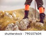 mountain hiking. lens flare ... | Shutterstock . vector #790107604