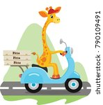 giraffe on the scooter delivers ... | Shutterstock .eps vector #790109491