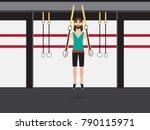 bearded bodybuilder man doing... | Shutterstock .eps vector #790115971