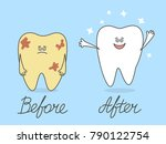 cartoon tooth before and after... | Shutterstock .eps vector #790122754