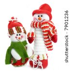 Two Smiling Snow Man In The Red ...