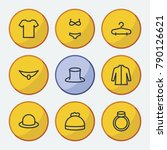 clothes icons set with bowler ...