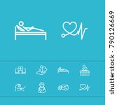 aid family icons set with care... | Shutterstock . vector #790126669