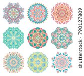set of 9 hand drawn colorful...   Shutterstock .eps vector #790127809