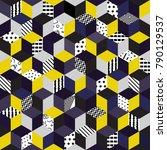 memphis seamless pattern 80s... | Shutterstock . vector #790129537
