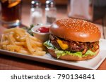 cheese hamburger with french... | Shutterstock . vector #790134841