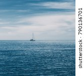 sailing boat on blue sea with... | Shutterstock . vector #790136701