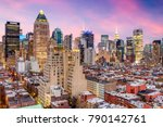 Small photo of New York City, USA midtown Manhattan skyline over Hell's Kitchen.