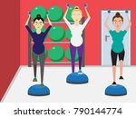Three young attractive pregnant woman in sportswear exercising with light weights in fitness studio. Sport, training, gym, pilates and lifestyle concept illustration vector.