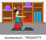 young attractive pregnant woman ... | Shutterstock .eps vector #790144777