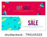 memphis style trendy banners set | Shutterstock .eps vector #790145335