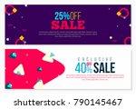 futuristic memphis banners set | Shutterstock .eps vector #790145467