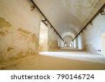 long corridor in abandoned... | Shutterstock . vector #790146724