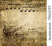 Music Notes On Old Paper Sheet...