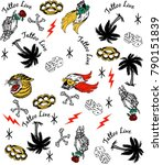 illustration tattoo pattern... | Shutterstock .eps vector #790151839