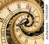 surreal antique old clock... | Shutterstock . vector #790152409