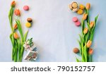 floral frame with macaroon ... | Shutterstock . vector #790152757