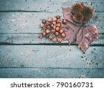 edible chestnut fruits and wet... | Shutterstock . vector #790160731