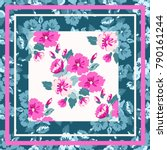 unusual scarf floral print.... | Shutterstock .eps vector #790161244