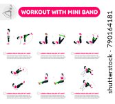 workout with mini band. fitness ... | Shutterstock .eps vector #790164181
