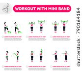 workout with mini band. fitness ... | Shutterstock .eps vector #790164184