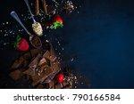 dark chocolate pieces crushed... | Shutterstock . vector #790166584