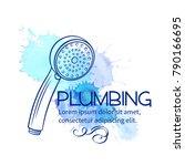 badge shower head for house... | Shutterstock .eps vector #790166695