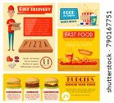 fast food restaurant banner set ... | Shutterstock .eps vector #790167751