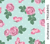 shabby chic roses and...   Shutterstock .eps vector #790168441