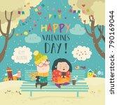 young couple sending love... | Shutterstock .eps vector #790169044