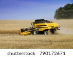 combine harvester working on... | Shutterstock . vector #790172671