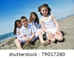 group of happy child on beach... | Shutterstock . vector #79017280