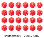 Isometric Red Dice Isolated On...