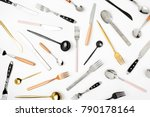 collection of various cutlery... | Shutterstock . vector #790178164
