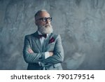 Small photo of Portrait of modern luxurious trendy wealthy intelligent dreamy pensive stylish authoritative clever man wearing checkered grey jacket chic maroon bow-tie imagine smth, isolated on concrete background