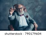portrait of bearded  lucky  old ... | Shutterstock . vector #790179604