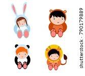 cute little kids wearing animal ... | Shutterstock .eps vector #790179889