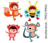 cute little kids wearing animal ... | Shutterstock .eps vector #790179901