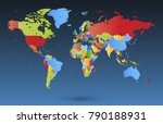 color world map vector | Shutterstock .eps vector #790188931