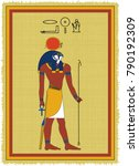 papyrus with the image of ra ...   Shutterstock .eps vector #790192309