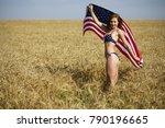 young beautiful blonde woman in ... | Shutterstock . vector #790196665