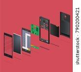 the disassembled phone against...   Shutterstock .eps vector #790200421