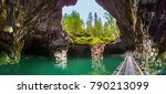 the cave is filled with water.... | Shutterstock . vector #790213099