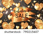 gold glitter sparkle hearts... | Shutterstock .eps vector #790215607