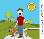 man walking with his cat and... | Shutterstock .eps vector #79021591
