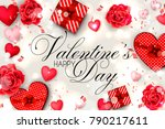happy valentine's day red roses ... | Shutterstock .eps vector #790217611