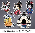 set of flash style japanese cat ... | Shutterstock .eps vector #790220401